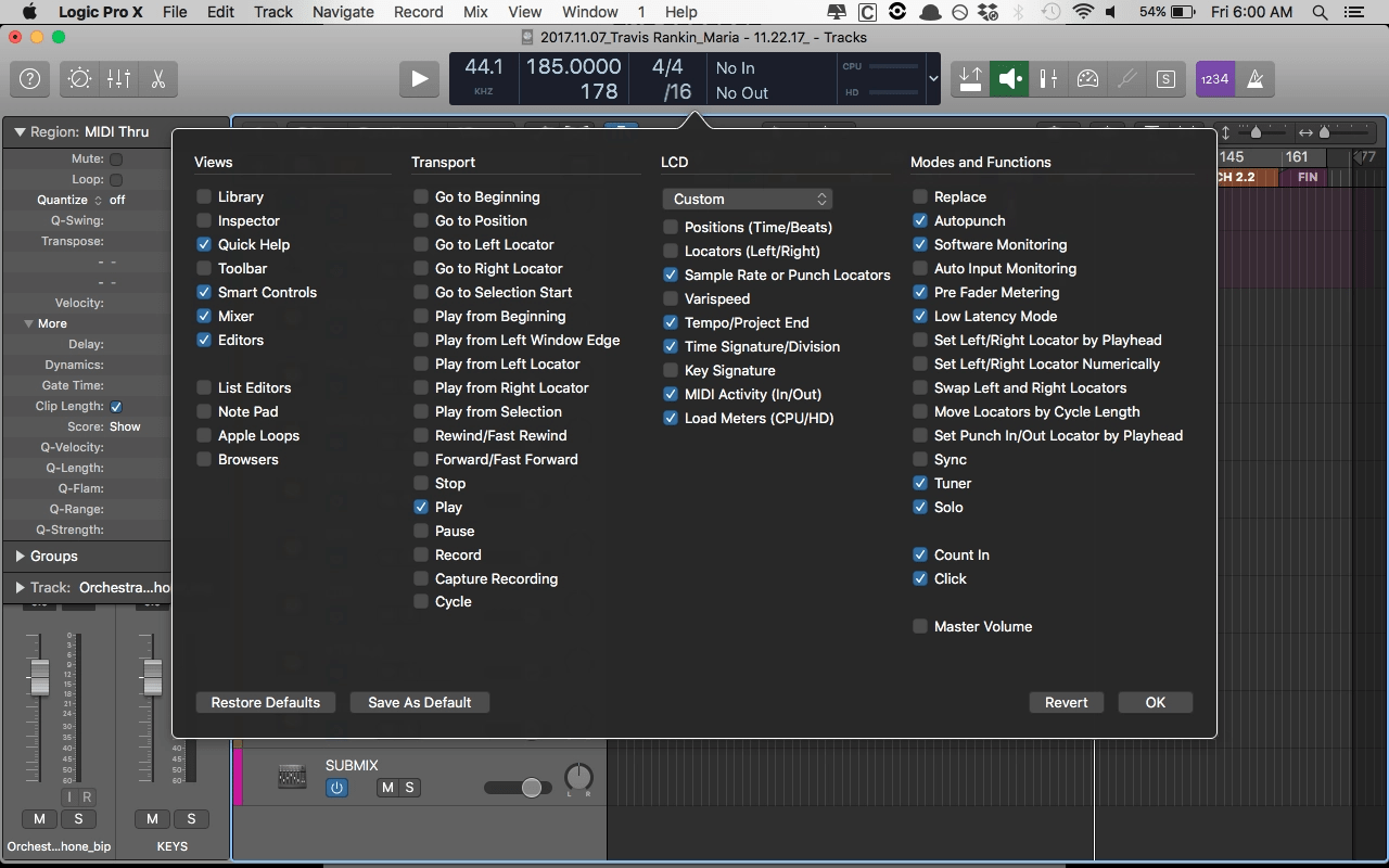 Logic Pro X Customize Control Bar and Display