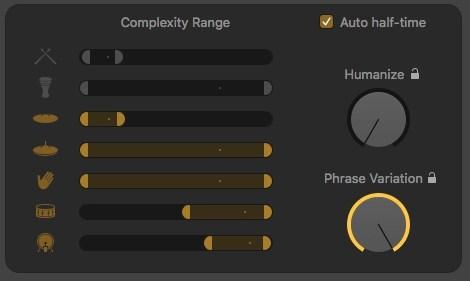 Logic Pro X Drummer Editor Complexity Range