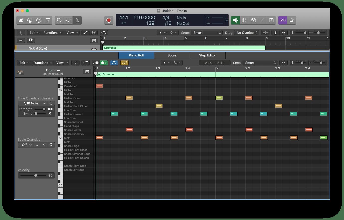 Logic Pro X Drummer MIDI Region