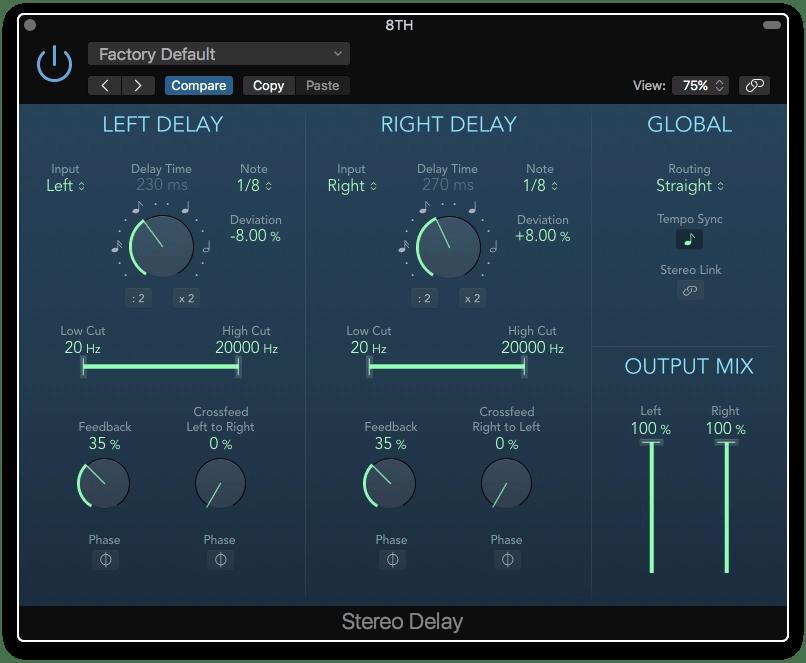 Logic Pro X Stereo Delay plugin