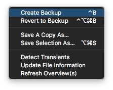 Logic Pro X Audio File Editor Audio File Menu