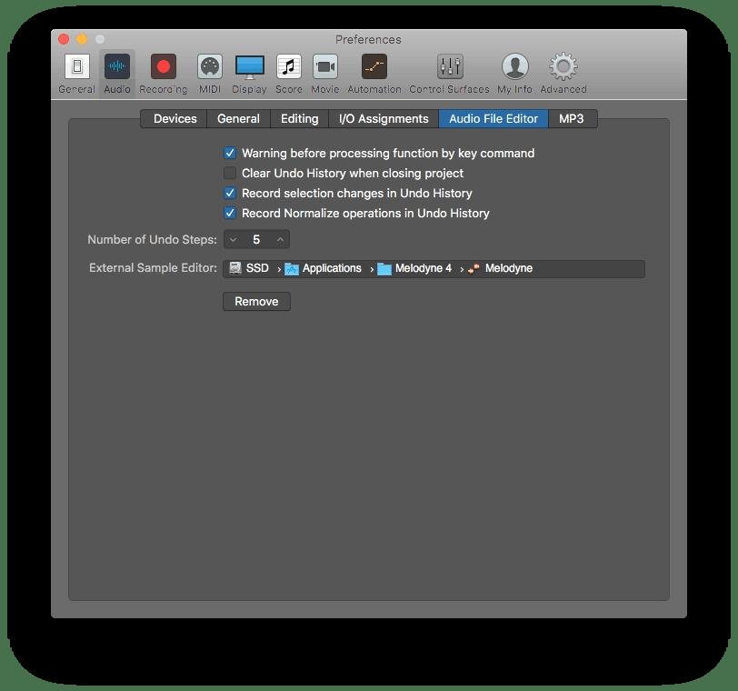 Logic Pro X Audio File Editor Preferences