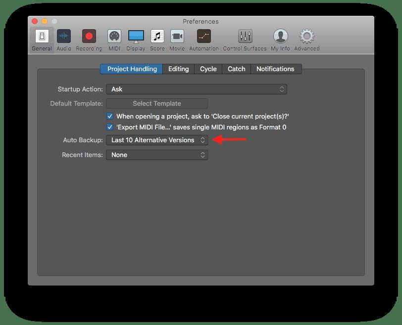 Logic Pro X Auto Backup Preference