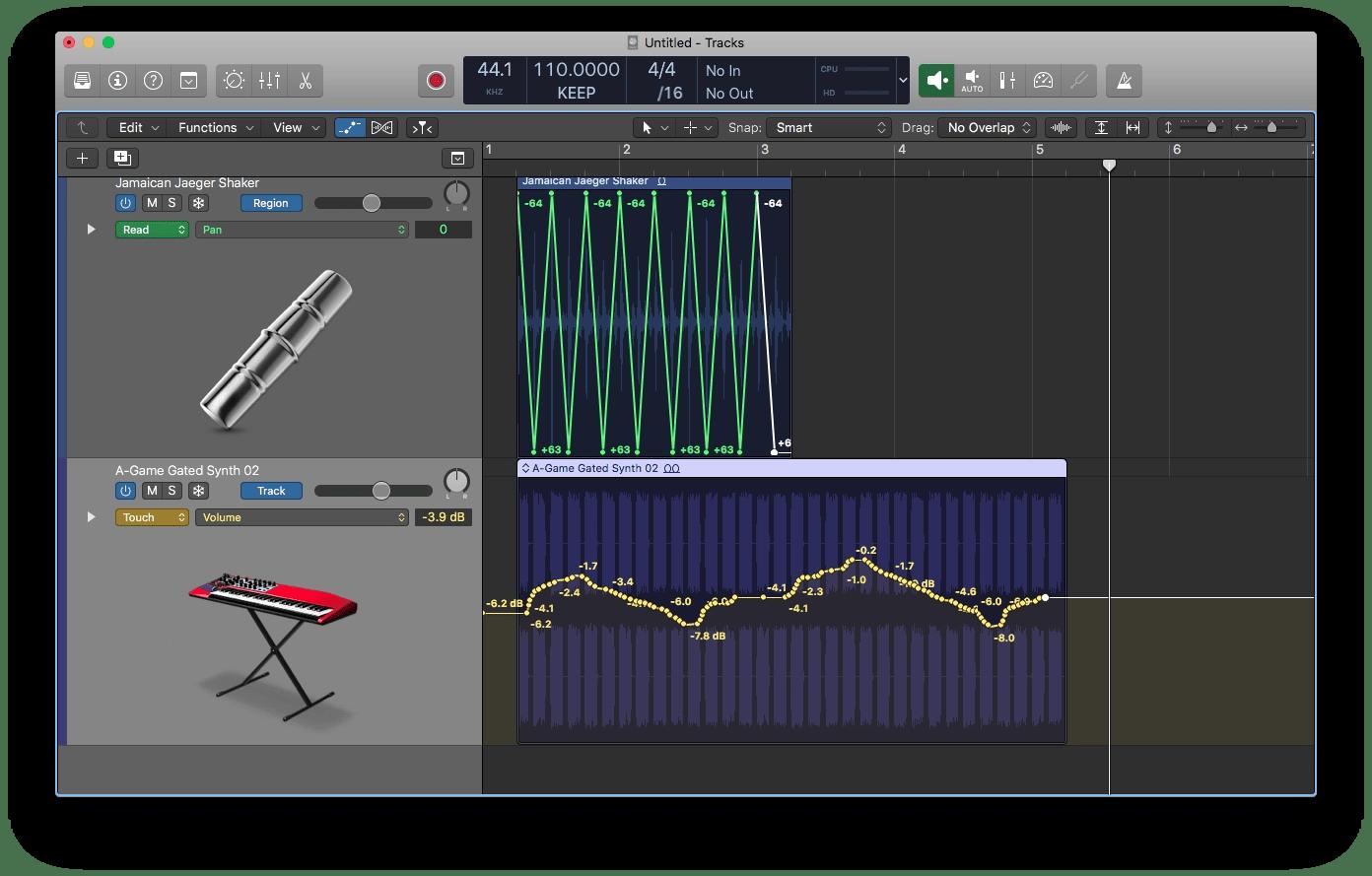 Logic Pro X Track-based and Region-based Automation