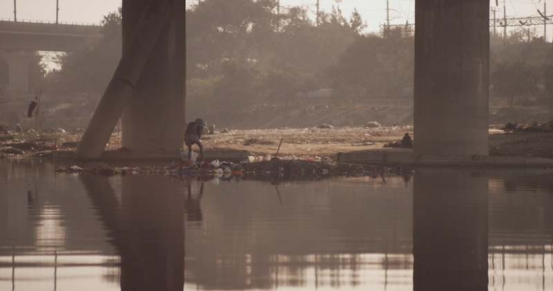 Horrendous pollution in the Yamuna River which flows through the heart of Delhi, the 3rd largest city in the world with more than 26 million residents. Photo taken during 8 Billion Angels filming in India.