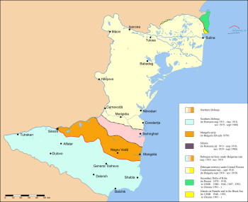 Territorial division of Dobruca in different periods