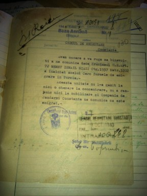 Thıis is a document of the Constanta recruiting centre stating that Memet İsmail Niyazi cannot be recruited due to the fact that he had migrated to Turkey.