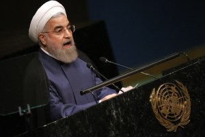 (PHOTO: REUTERS/CARLO ALLEGRI) Iranian President Hassan Rouhani addresses attendees during the 70th session of the United Nations General Assembly at the U.N. headquarters in New York, September 28, 2015.