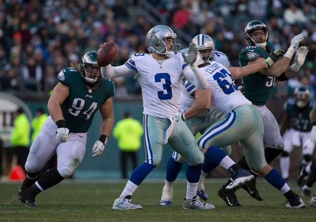 PHILADELPHIA, PA - JANUARY 1: Mark Sanchez #3 of the Dallas Cowboys passes the ball in the third quarter against Beau Allen #94 of the Philadelphia Eagles in the third quarter at Lincoln Financial Field on January 1, 2017 in Philadelphia, Pennsylvania. The Eagles defeated the Cowboys 27-13. (Photo by Mitchell Leff/Getty Images)