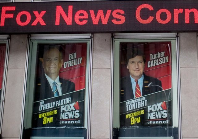 Bill O'Reilly's first public comments since his departure from Fox came on the day his successor, Tucker Carlson, made his on-air debut in the 8 p.m. time slot. (Mary Altaffer/Associated Press)