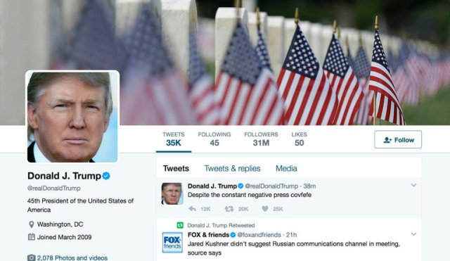 """An image of President Trump's Twitter account. """"Despite the constant negative press covfefe,"""" the post began, at 12:06 a.m."""