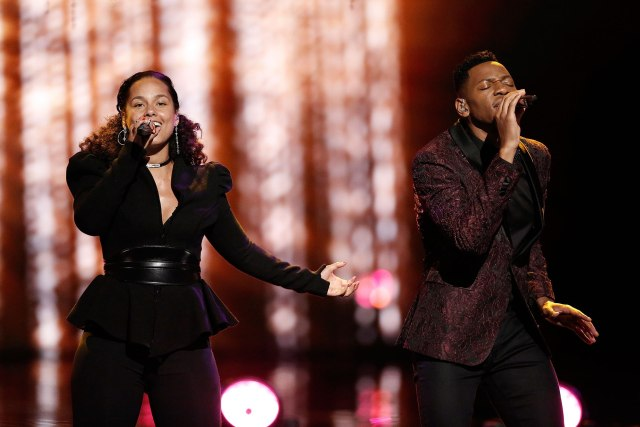 "THE VOICE -- ""Live Finale"" Episode 1219A -- Pictured: (l-r) Alicia Keys, Chris Blue -- (Photo by: Tyler Golden/NBC/NBCU Photo Bank via Getty Images)"