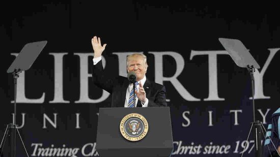 President Donald Trump gives the commencement address for the Class of 2017 at Liberty University in Lynchburg, Va., Saturday. (Pablo Martinez Monsivais/AP)