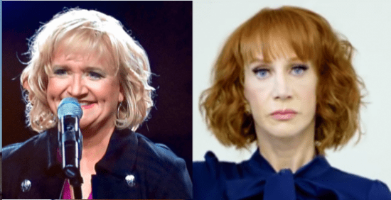 "(PHOTO: SCREEN SHOTS VIA FACEBOOK; YOUTUBE) Emmy-nominated and best-selling clean comedian often billed as ""The Queen of Clean, Chonda Pierce (L) and comedian Kathy Griffin (R)."