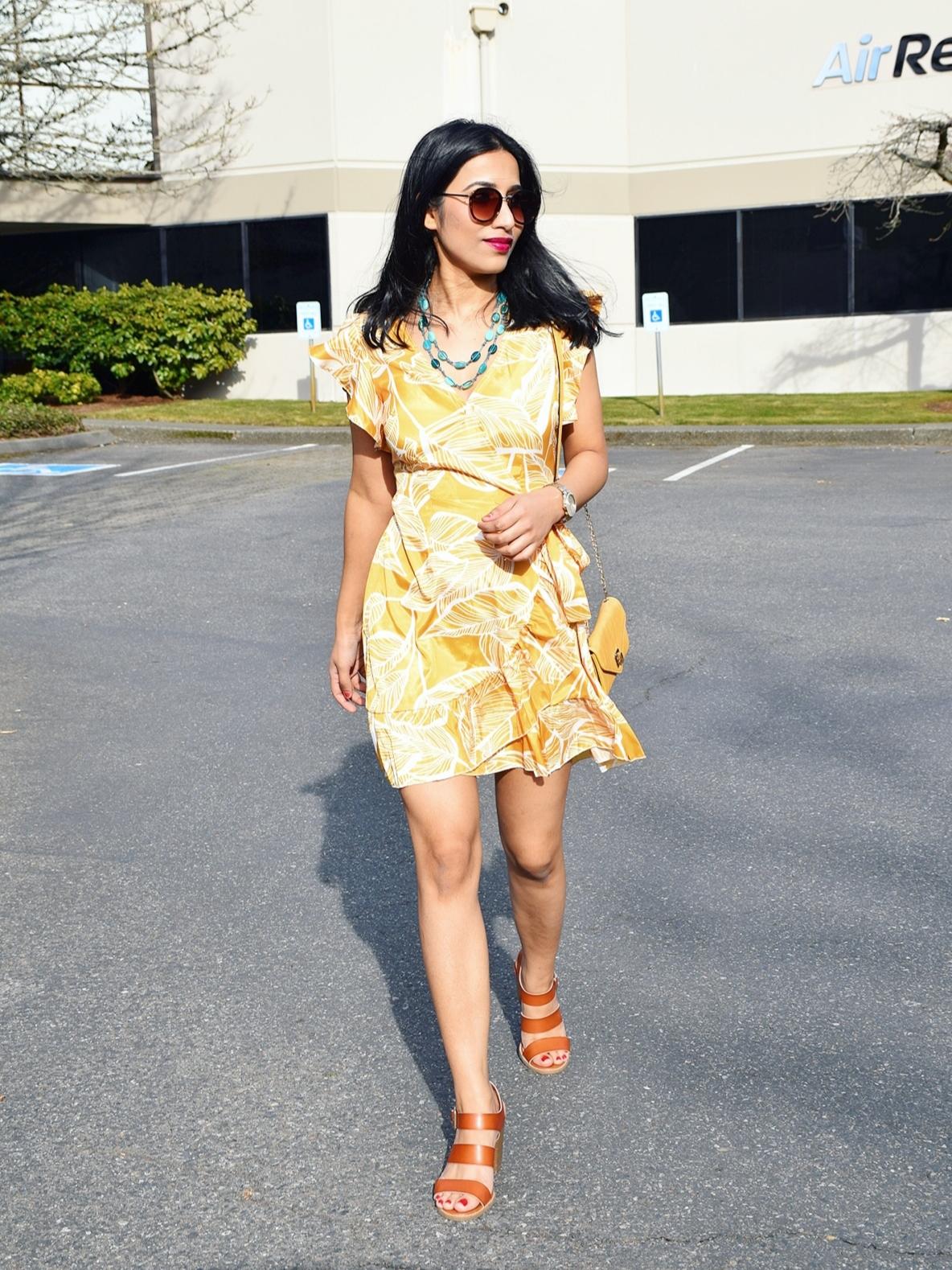 https://www.dropship-clothes.com/Mustard-Leaf-Vein-Print-Ruffle-and-Wrap-Short-Summer-Dress-p499924.html