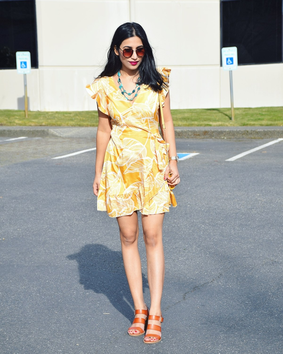 https://www.dropship-clothes.com/Mustard-Leaf-Vein-Print-Ruffle-and-Wrap-Short-Summer-Dress-p499924.html