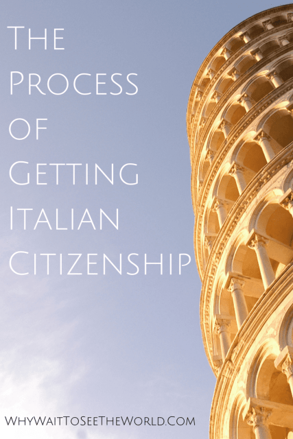 The Leaning Tower of Pisa with Text - The Process of Getting Italian Citizenship