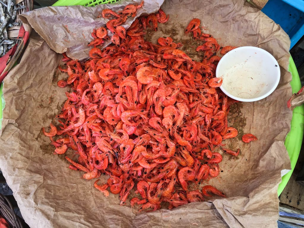 Camarones or dried shrimp at the market in Cancun