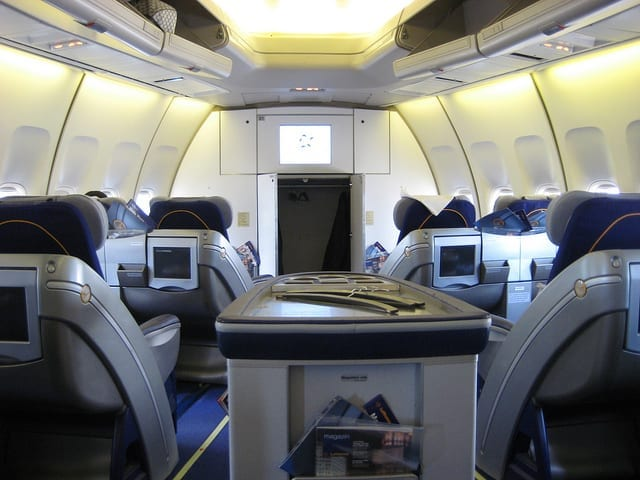 View of the Interior of First Class on a Plane - How to Survive a Long Flight