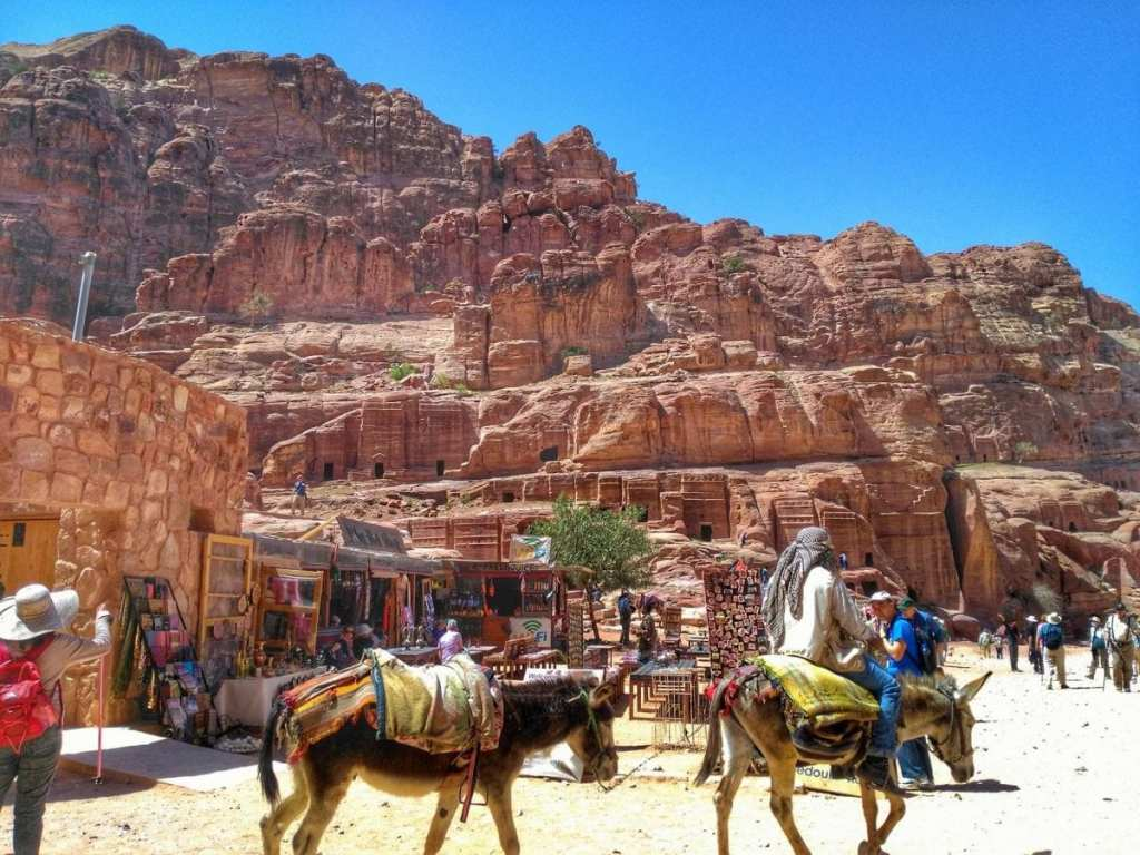 Tourist Vendors in Front of the Royal Tombs at Petra - Visit Petra