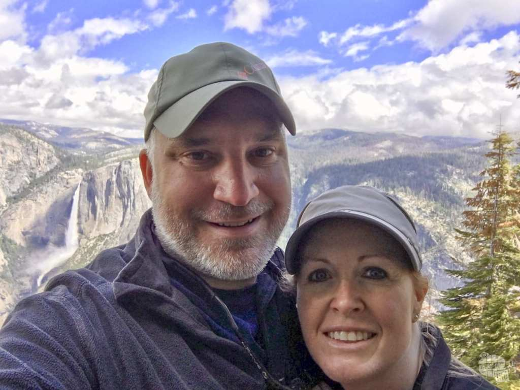 Selfie on the Four Mile Trail with Yosemite Falls in the background. - 7 Week RV Trip in the American West