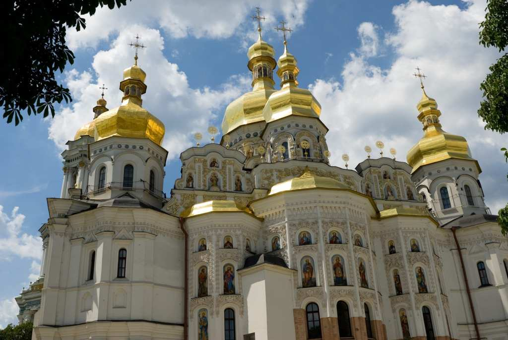 White church with golden domes