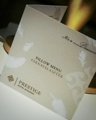 Prestige Budapest Hotel Pillow Menu
