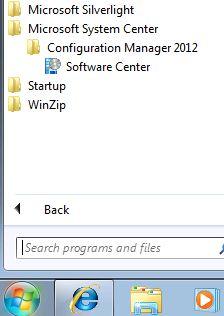 SCCM2012 client start menu