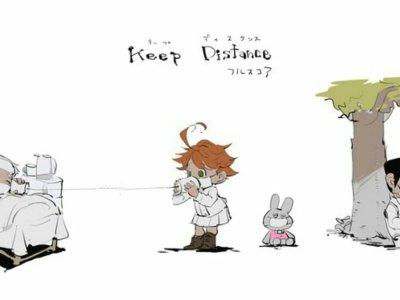 Artis The Promised Neverland Menggambar Karakter Manganya yang Sedang Jaga Jarak Sosial 44
