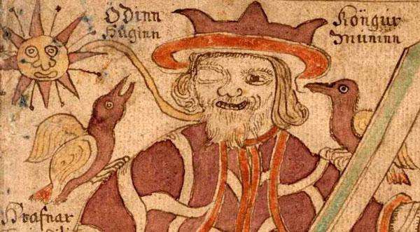 Uit een achttiende-eeuws IJslands manuscript: Odin met de raven Huginn (Geheugen) en Muninn (Gedachte). Afbeelding van Wikipedia
