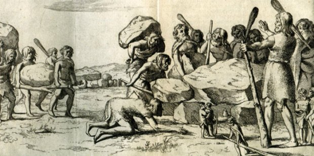 Mensen en reuzen bij de bouw van een hunebed. Gravure uit de Annales Drenthiae https://nl.wikipedia.org/wiki/Johan_Picardt (Geschiedenis van Drenthe), 1660 (afbeelding van Wikipedia)
