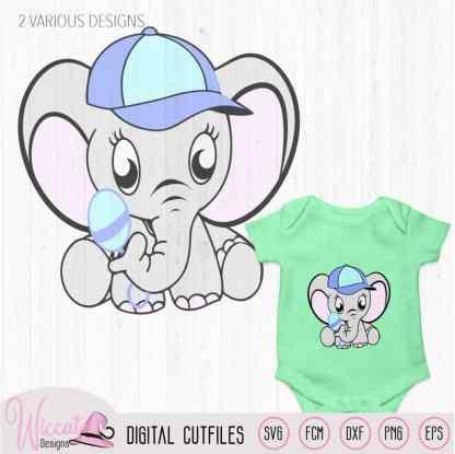 Baby boy elephant with rattle