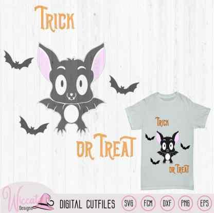 Cute Halloween bat, trick or treat