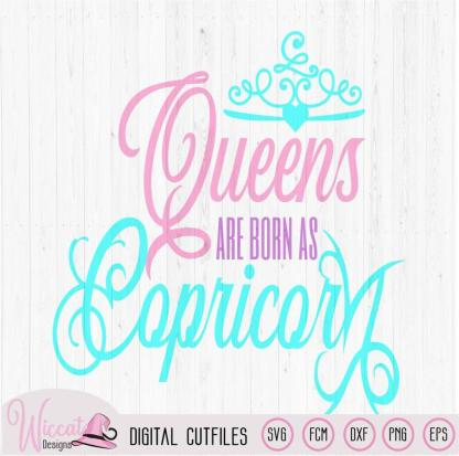 Capricorn Queen svg, Zodiac born in January