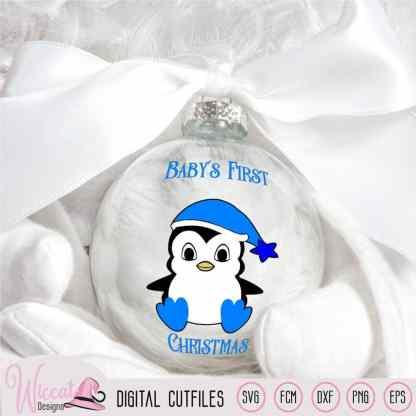 Christmas boy penguin svg, Baby boy cut file