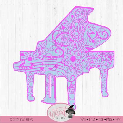 Doodle Piano cut file, intricate piano design
