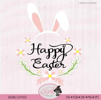Happy easter met bloemen en konijnen oren