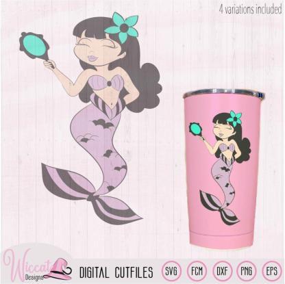 Mermaid with mirror digital cut file