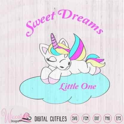 Nursery Rainbow unicorn svg, Unicorn on a cloud svg, newborn cut file, svg for Babies, cricut svg, Scanncut Fcm file, sleeping Unicorn