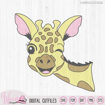 Winking Giraffe face svg, zoo animal svg