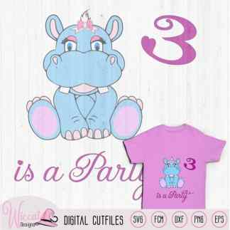Hippo girl third birthday