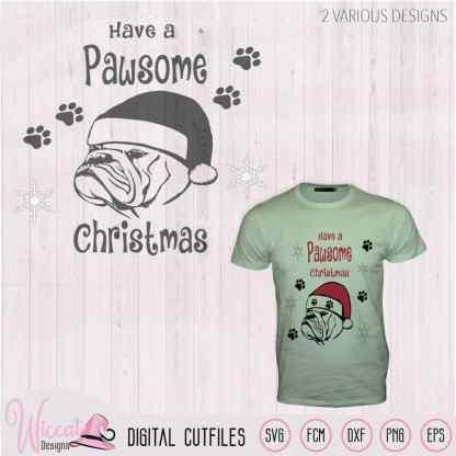 Christmas Bulldog svg, Santa dog svg,