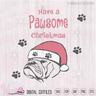 Christmas Bulldog svg, Santa dog svg,