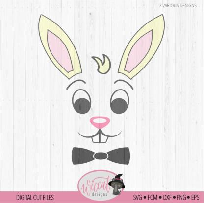 Easter bunny boy face digital cut file