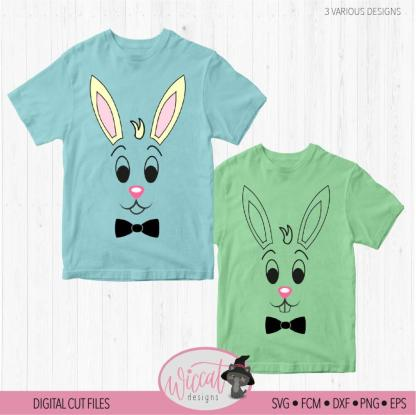 Easter bunny boy face digital cut file