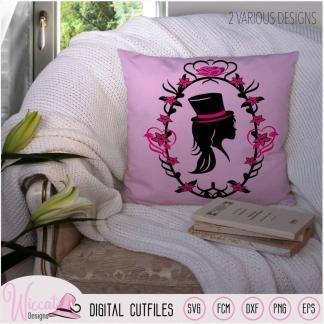 Girl Portrait with top hat, cameo silhouette, cricut svg, dxf cut file, scanncut fcm, die cut, fcm files, paper cut, vector, vinyl craft