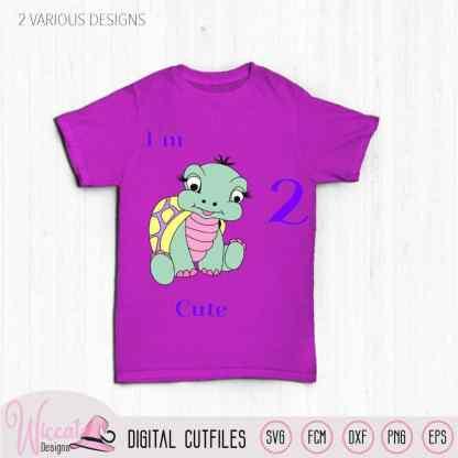 Birthday girl turtle svg, I am 2 cute svg, baby animal svg, second birthday svg, scanncut file, toddler file, svg for cricut, sea turtle svg