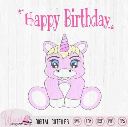 Baby unicorn Happy birthday svg,