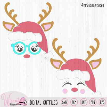 Hipster deer head with hat, Reindeer face svg, Christmas hat svg