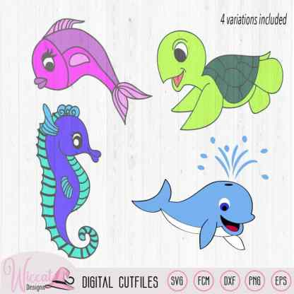 Sea animals bundle, SVG Sea Bundle, whale svg, under the Sea svg, sea turtle svg, fish svg, seahorse svg, scanncut fcm, cricut design